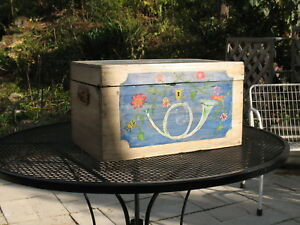 Antique Primitive Wood Painted Trunk Chest 18th Century War Ship Iron Handles