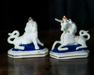 Rare Pair Of Staffordshire Figures Royal Lion Unicorn C 1830