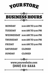 Buttonsmith Custom Personalized Frosted Store Hours Shop Sign 12x18 Made In