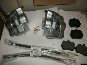 Mg Midget austin Healey Sprite Set 2 New Front Brake Calipers W Hoses And Pads