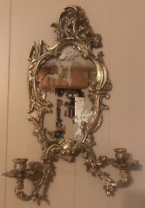 Vintage Antique French Bronze Ornate 2 Arm Wall Sconce W Mirror Glass