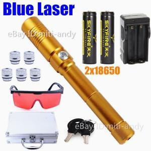 Powerful Blue Burning Laser Pointers Pen Military Laser Torch Flashlight 2x18650