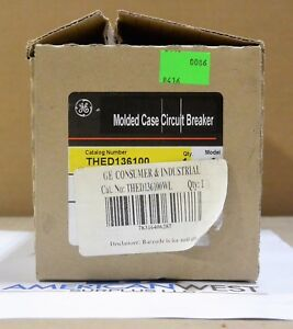 Thed136100 Ge New In Box 100 Amp 600v 3p Thed Circuit Breaker