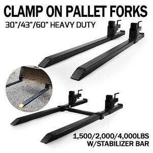 1500lb 2000lb 4000lb Clamp On Loader Bucket Skidsteer Tractor Pallet Fork Chain
