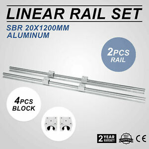 Sbr 20 1200mm 20mm Linear Slide Guide Shaft 2 Rail 4sbr20uu Bearing Block Cnc Se