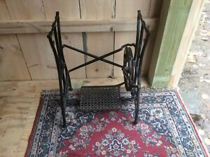 Antique White Sewing Machine Base Treadle Made In Usa Industrial Table
