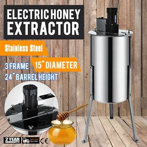New Large 3 6 Frame Stainless Steel Honey Extractor Electric Beekeeping 120w