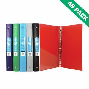 Binders Poly 3 ring Office File School Binder 1 Inch With Pocket case Of 48