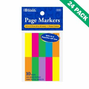 Page Markers Coloring Neon Sticky Journal Flag Page Marker Set Of 24 10 pack