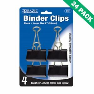 Binder Clips Black 51mm Large Paper Binder Clips Office 4 pack Pack Of 24