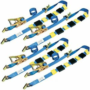Over Tire Car Hauler Truck Trailer Auto Tie Down Ratchet E Track Straps 4 Pack