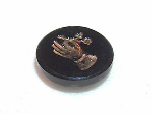 Antique Victorian Glass Button A Hand Offering A Flower Recessed W Gold Inlay
