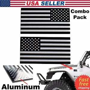 3d Metal American Flag Sticker Decal Emblem Bike Auto Truck Black