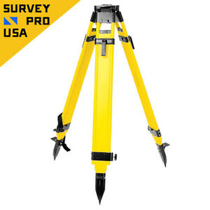 Heavy Duty Wood Tripod Dual Clamp Screw quick W tool Kit Total Station