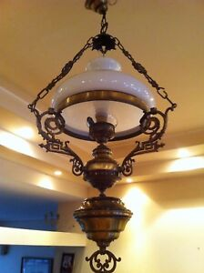 Antique Vintage Brass Chandelier Hanging Lamp Light With White Opaline Shade 37h