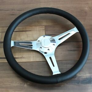15 3 Spoke Black Leather Chrome Steering Wheel 6 Hole Hot Rod Ford Chevy Truck