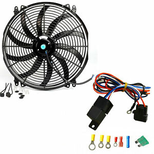 16 Inch Universal Electric Radiator Cooling Fan Thermostat Switch Kit Control