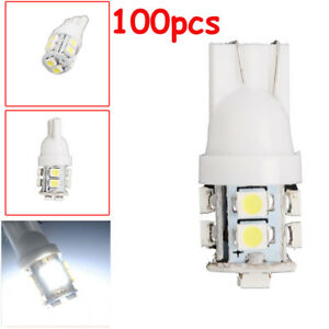 100 pack T10 White 168 194 501 W5w 10 Smd Led Car Side Wedge Light Lamp Bulb 12v