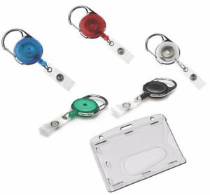 Retractable Key Reel Ski Pass Premium Enclosed Id Card Security Badge Holder