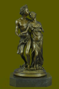 Hand Made Hawaiian Style Perfect Couple By French Artist Milo Bronze Masterpiece