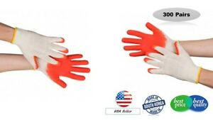 300 Pairs Wholesale Premium Red Latex Palm Coated Work Gloves Made In Korea
