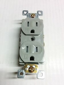50 Pc 15a Standard Duplex Receptacles 15 Amp Tamper Resistant Tr Outlets Gray