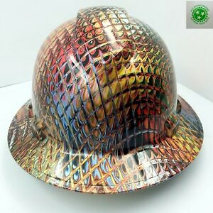 New Custom Pyramex full Brim Hard Hat Ironman Metallic Swirl 3d Crazy Sick New