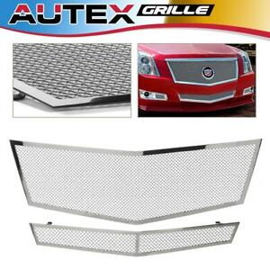 Mesh Grille Combo Fits 2008 2010 Cadillac Cts Stainless Steel Upper Lower Bumper