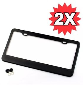 2pcs Black Stainless Steel Metal License Plate Frame Tag Cover Screw Caps