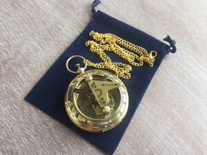 Brass Sundial Compass W 27 Chain Velour Bag Necklace Pendant Pocket Style