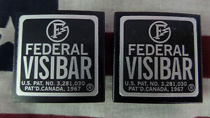 New Pair Federal Visibar Twin Beacon Ray Aluminum End Cap s With Foil Labels