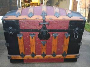 High End Antique Embossed Tin Trunk