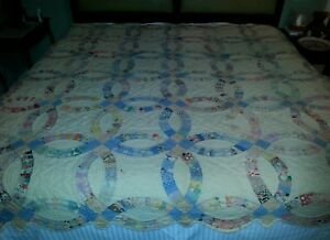 Antique Double Wedding Ring Quilt From Dust Bowl Era And Area 79 X 81