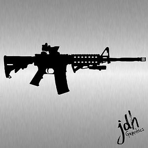 Ar 15 Vinyl Decal Sticker Car Window Wall Bumper Gun Ammo Assault Rifle 5 56 M16