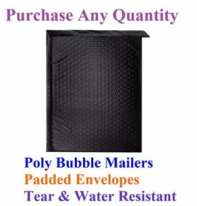 000 4 X 8 Black Poly Bubble Mailers Shipping Mailing Bags Envelopes Color 4x7