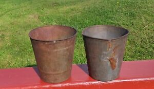 2 Old Tin Sap Buckets Maple Syrup Planters Flowers L K Great Decor