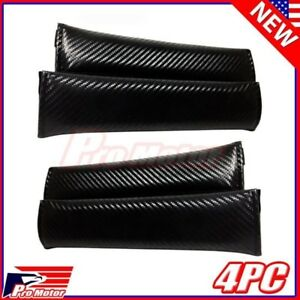 4 X Universal Carbon Fiber Seat Belt Cover Shoulder Pad Cushion Safe Protector Z