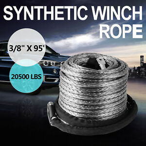 3 8 X 95 Winch Synthetic Line Cable Rope 20500 Lbs Recovery W Thimble Sleeve