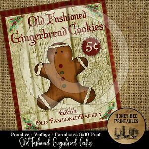 Primitive Farmhouse Vintage Print 8x10 Old Fashioned Gingerbread Man Cookies