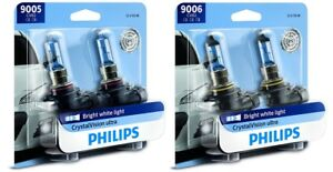 4x Philips 9005 9006 Upgrade Crystal Vision Ultra Xenon Bright White Light Bulb