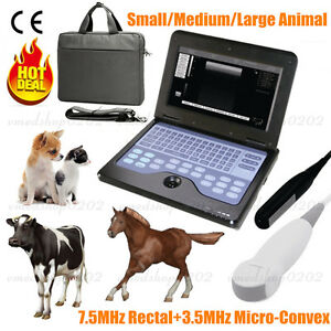 Portable Veterinary Laptop Ultrasound Scanner Machine 2 Probes Horse cow dog cat