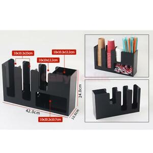 Coffee Paper Cup Lid Holder Dispenser Organizer Counter Drink Stand Black 2