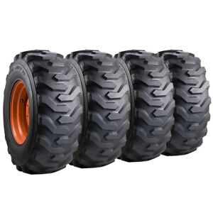 Set Of Carlisle 12x16 5 Trac Chief Xt Skid Steer Tires And Wheels Bobcat