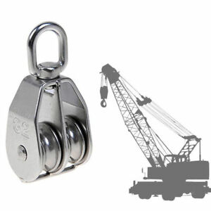 75mm Dia Stainless Steel Double Sheave Swivel Eye Rope Pulley Block Wheel
