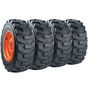 Set Of Carlisle 12x16 5 Guard Dog Hd Skid Steer Tires And Wheels Bobcat