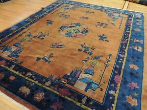 Antique 8x10 8x9 Art Deco Chinese Oriental Area Rug Orange Gold Purple Blue