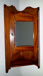 Antique Mirrored Walnut Mahogany Hanging Wall Cupboard Corner Medicine Cabinet