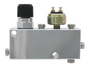 Chrome Adjustable Proportioning Block With Brake Switch Valve Built In Ford Gm