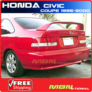 96 00 For Honda Civic 2d 2d Rear Trunk Tail Wing Spoiler Si Style Unpainted Abs