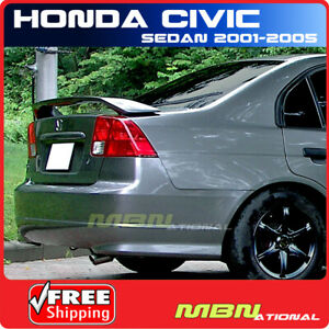 01 05 For Honda Civic 4d 4d Rear Trunk Tail Wing Spoiler Primer Unpainted Abs